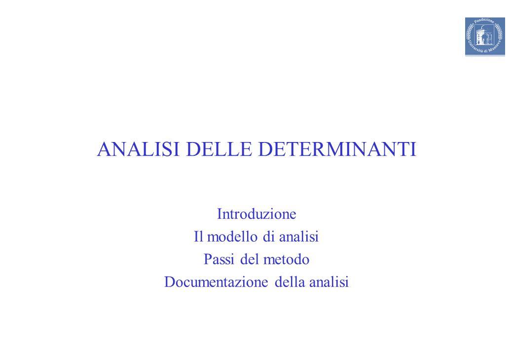 ANALISI DELLE DETERMINANTI