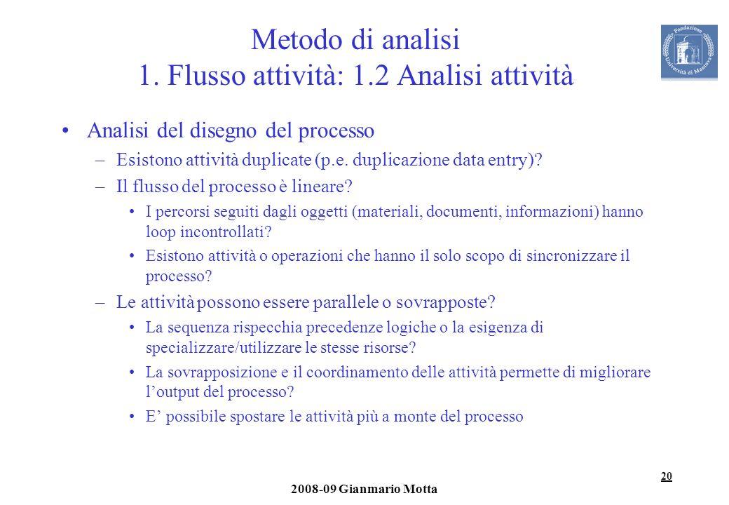 Metodo di analisi 1. Flusso attività: 1.2 Analisi attività