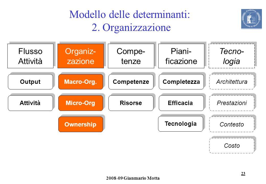 Modello delle determinanti: 2. Organizzazione