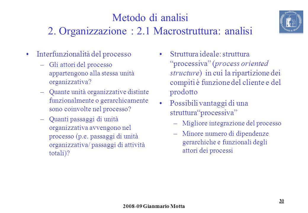 Metodo di analisi 2. Organizzazione : 2.1 Macrostruttura: analisi
