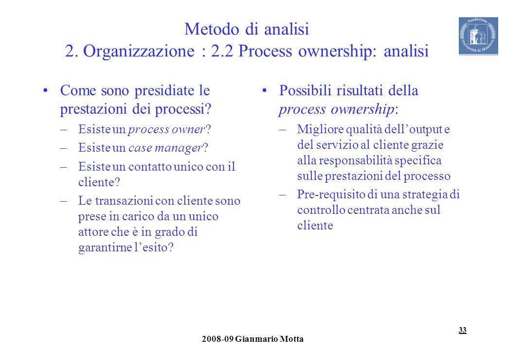 Metodo di analisi 2. Organizzazione : 2.2 Process ownership: analisi