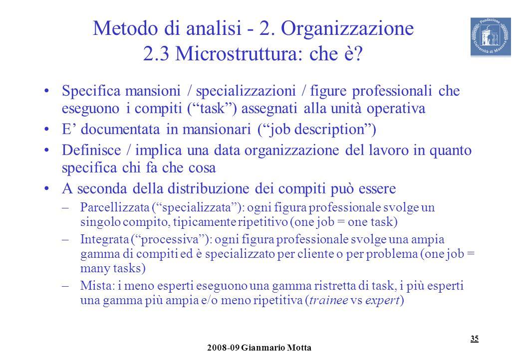 Metodo di analisi - 2. Organizzazione 2.3 Microstruttura: che è