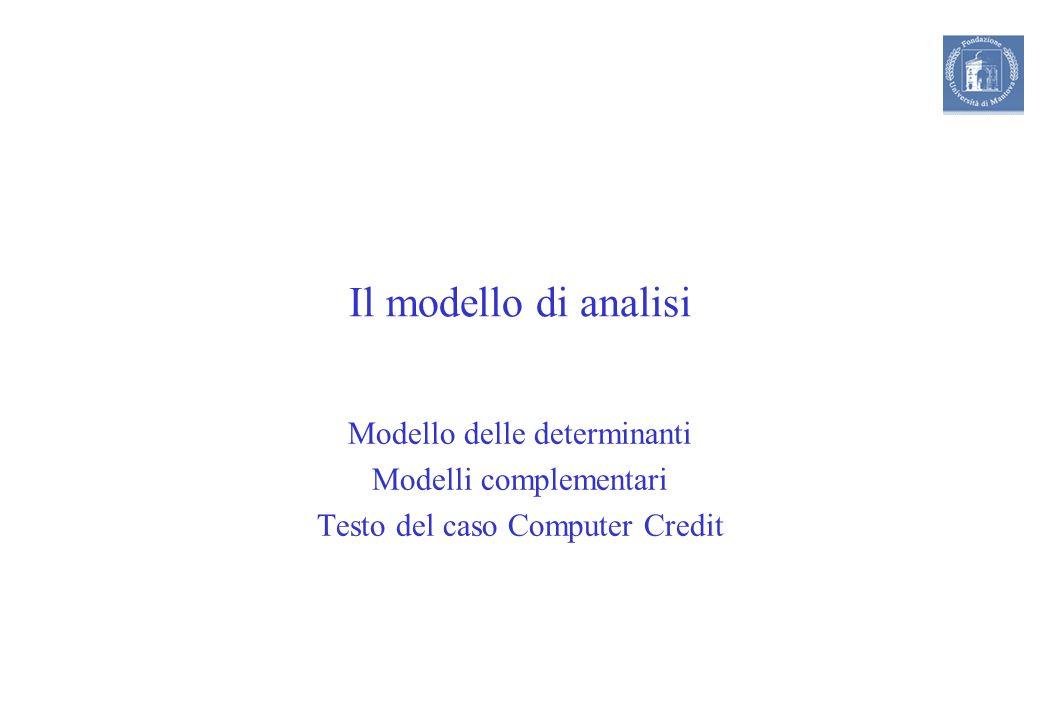 Il modello di analisi Modello delle determinanti Modelli complementari