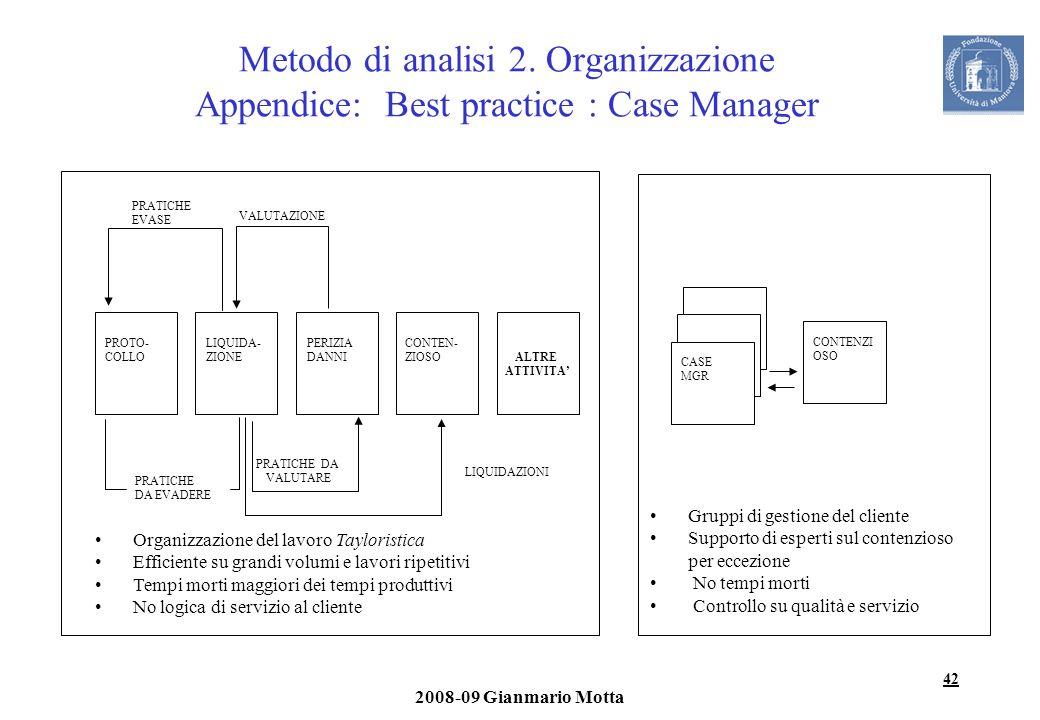Metodo di analisi 2. Organizzazione Appendice: Best practice : Case Manager