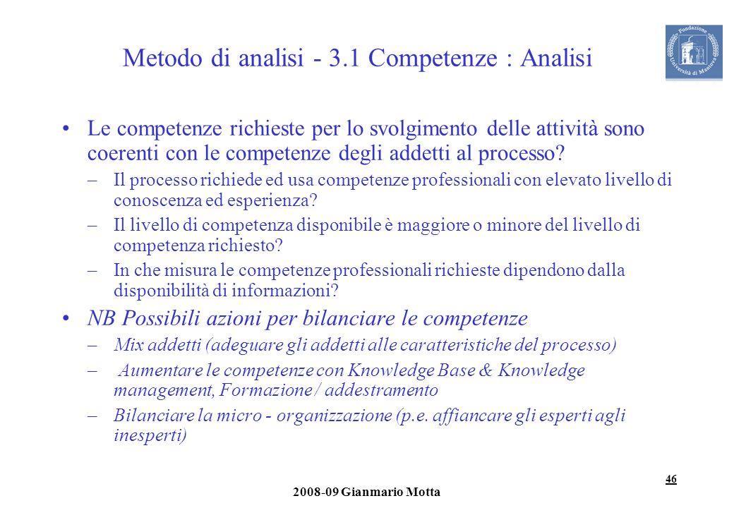 Metodo di analisi - 3.1 Competenze : Analisi