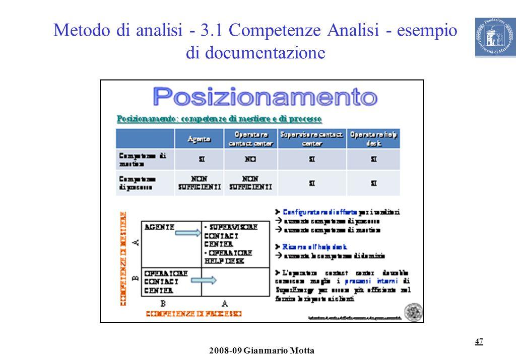Metodo di analisi - 3.1 Competenze Analisi - esempio di documentazione