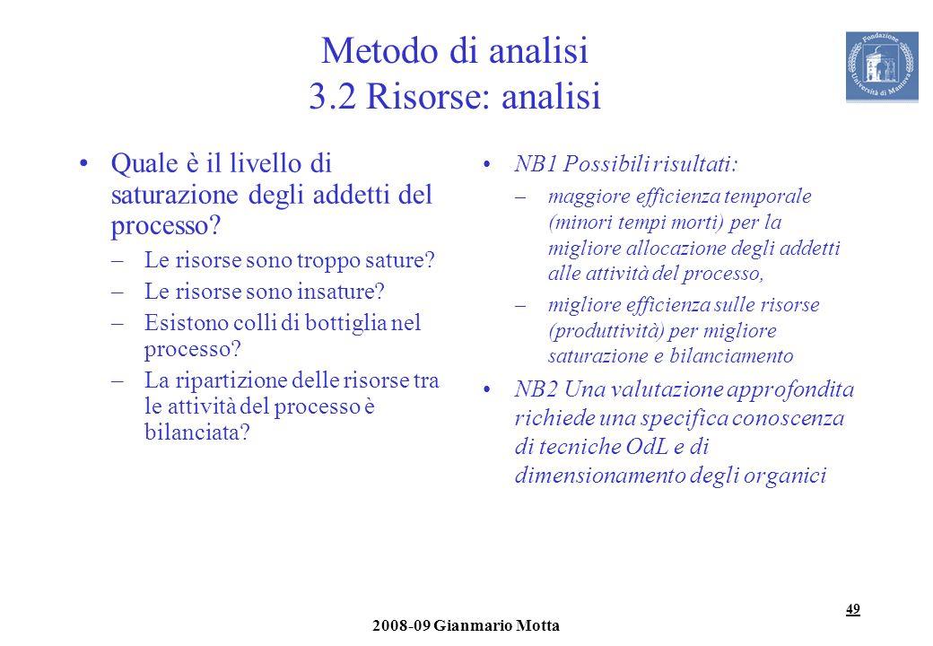 Metodo di analisi 3.2 Risorse: analisi