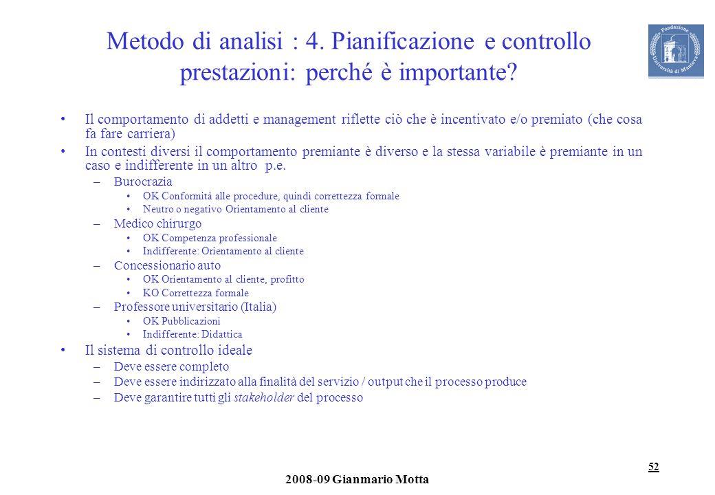 Metodo di analisi : 4. Pianificazione e controllo prestazioni: perché è importante