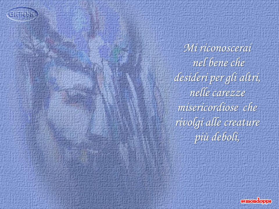Mi riconoscerai nel bene che desideri per gli altri, nelle carezze misericordiose che rivolgi alle creature più deboli,