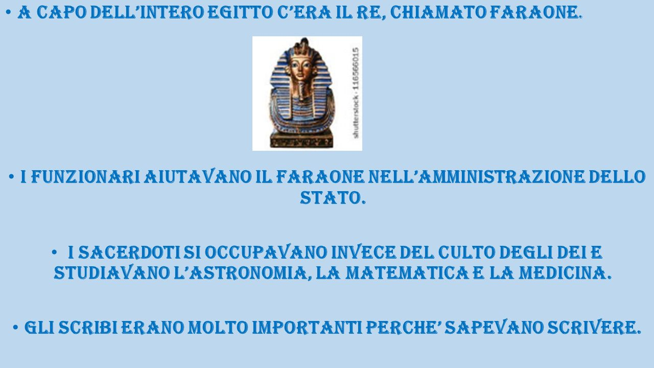 A CAPO DELL'INTERO EGITTO C'ERA IL RE, CHIAMATO FARAONE.
