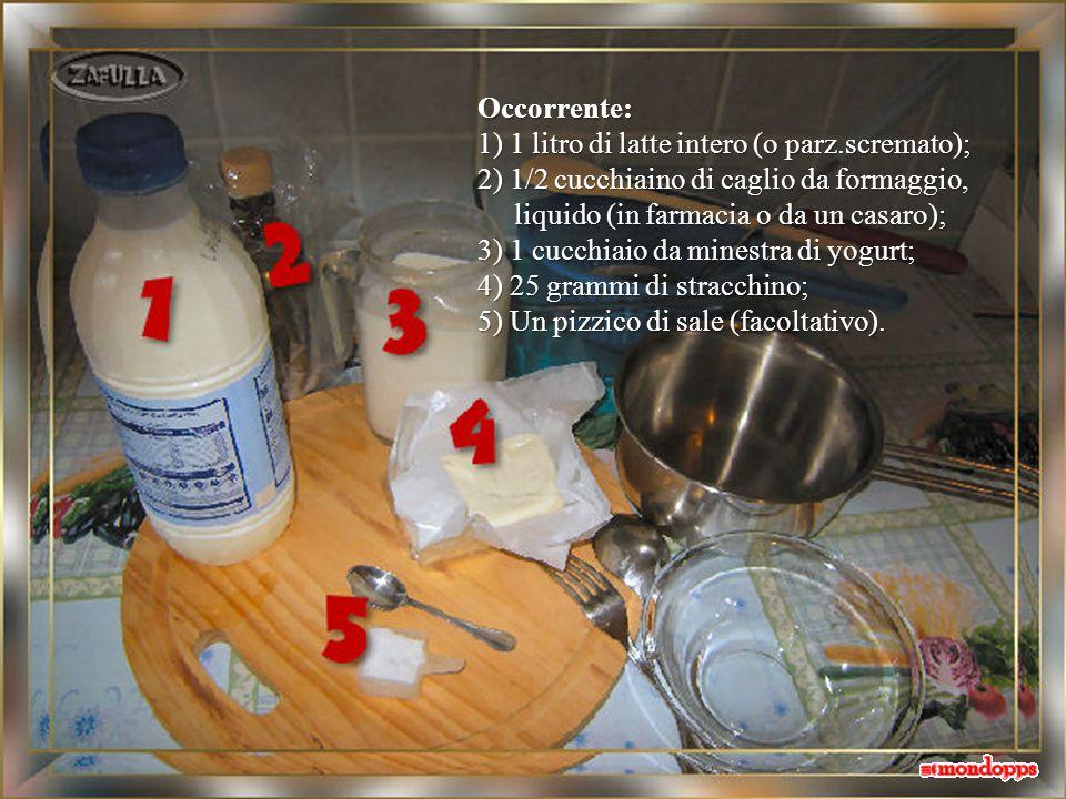 Occorrente: 1) 1 litro di latte intero (o parz.scremato); 2) 1/2 cucchiaino di caglio da formaggio,