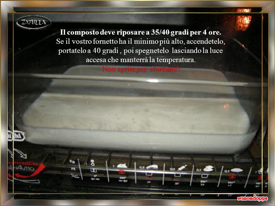 Il composto deve riposare a 35/40 gradi per 4 ore.