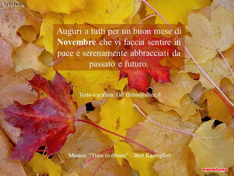 Auguri a tutti per un buon mese di Novembre che vi faccia sentire in