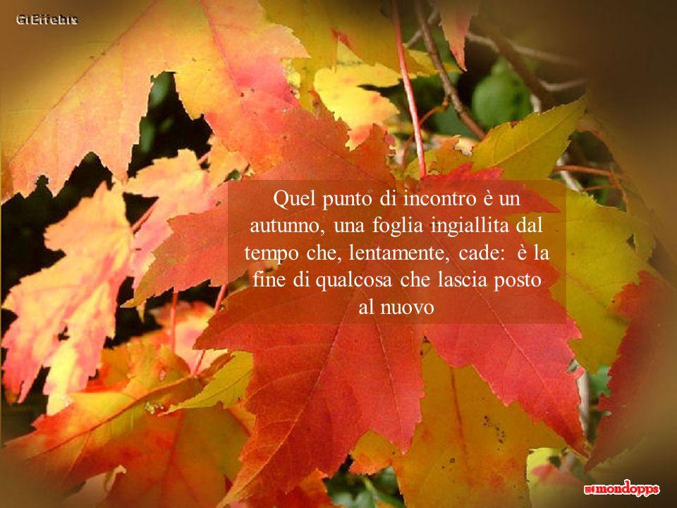 Quel punto di incontro è un autunno, una foglia ingiallita dal tempo che, lentamente, cade: è la fine di qualcosa che lascia posto