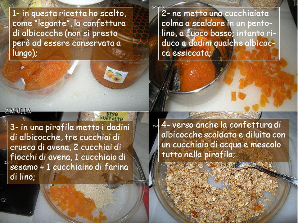 1- in questa ricetta ho scelto, come legante , la confettura di albicocche (non si presta però ad essere conservata a lungo);