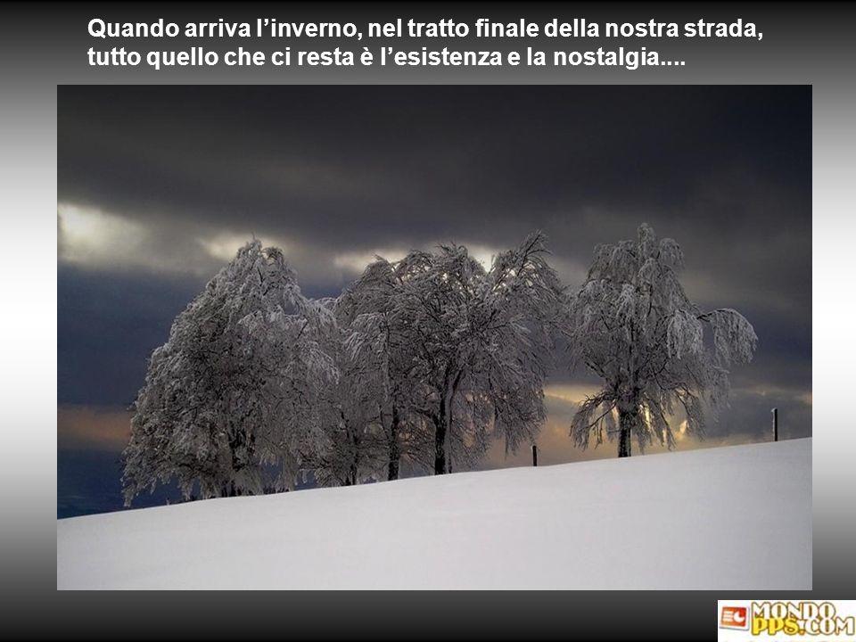 Quando arriva l'inverno, nel tratto finale della nostra strada, tutto quello che ci resta è l'esistenza e la nostalgia....