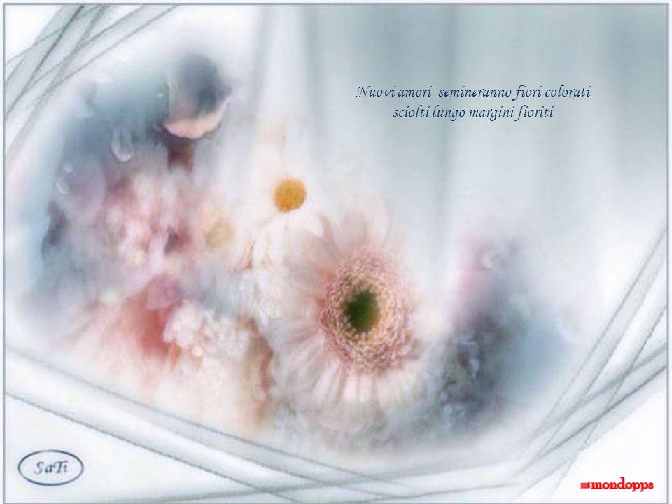 Nuovi amori semineranno fiori colorati sciolti lungo margini fioriti