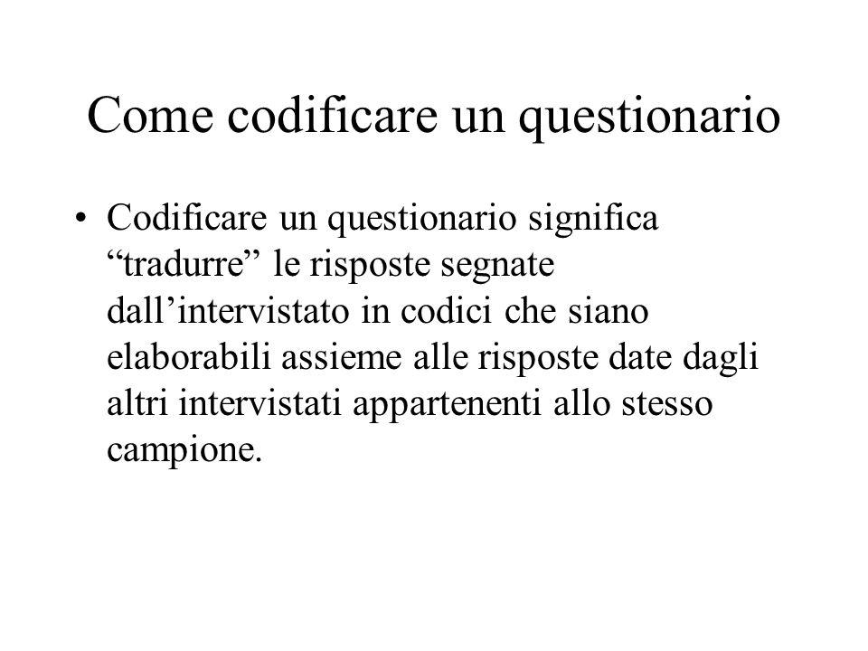 Come codificare un questionario