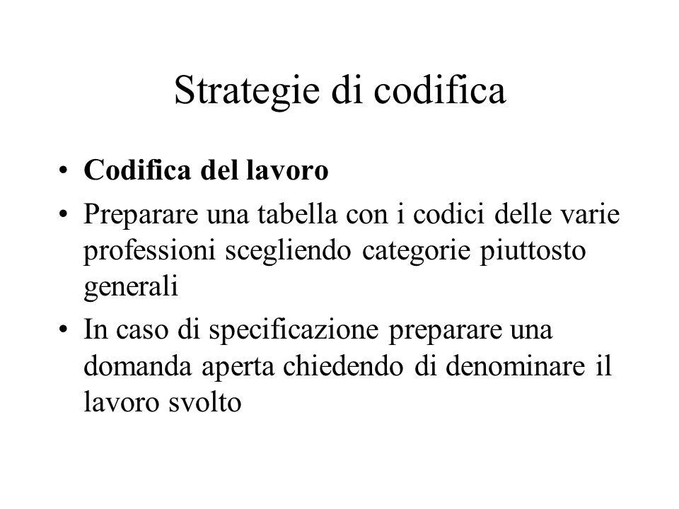 Strategie di codifica Codifica del lavoro