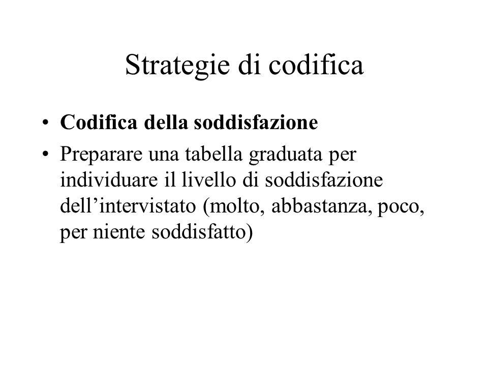 Strategie di codifica Codifica della soddisfazione