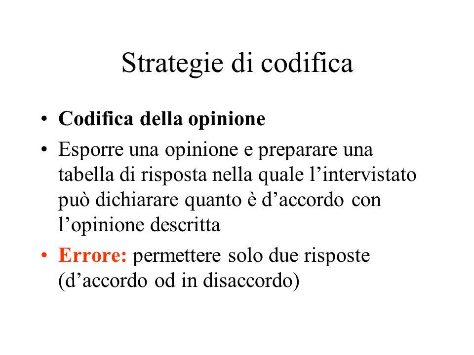 Strategie di codifica Codifica della opinione