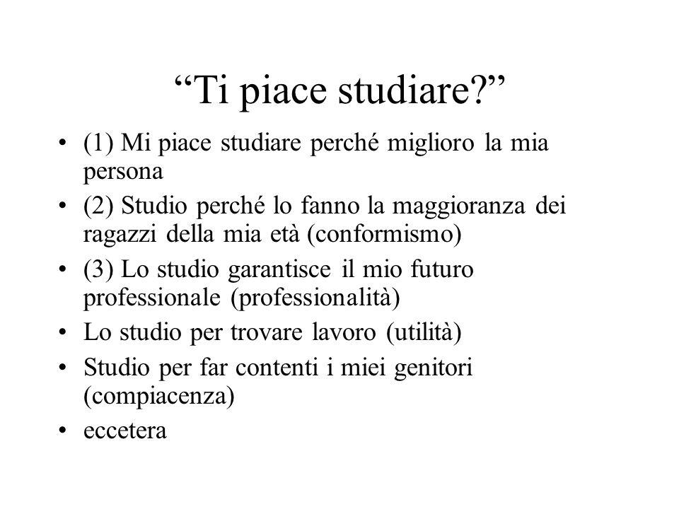 Ti piace studiare (1) Mi piace studiare perché miglioro la mia persona.