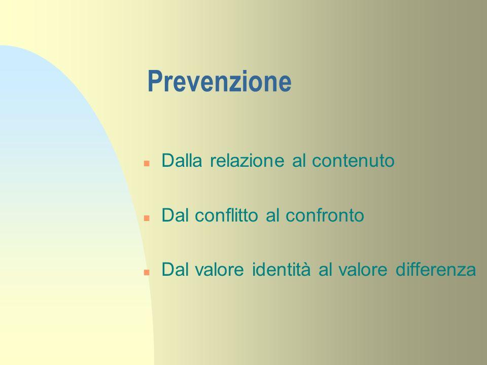 Prevenzione Dalla relazione al contenuto Dal conflitto al confronto