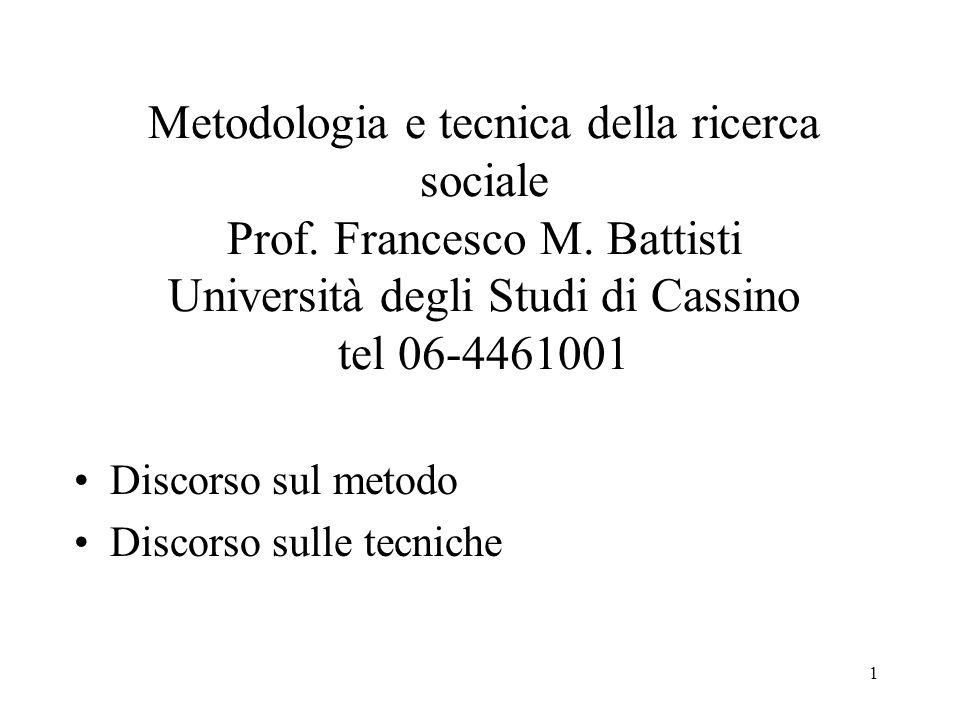 Metodologia e tecnica della ricerca sociale Prof. Francesco M
