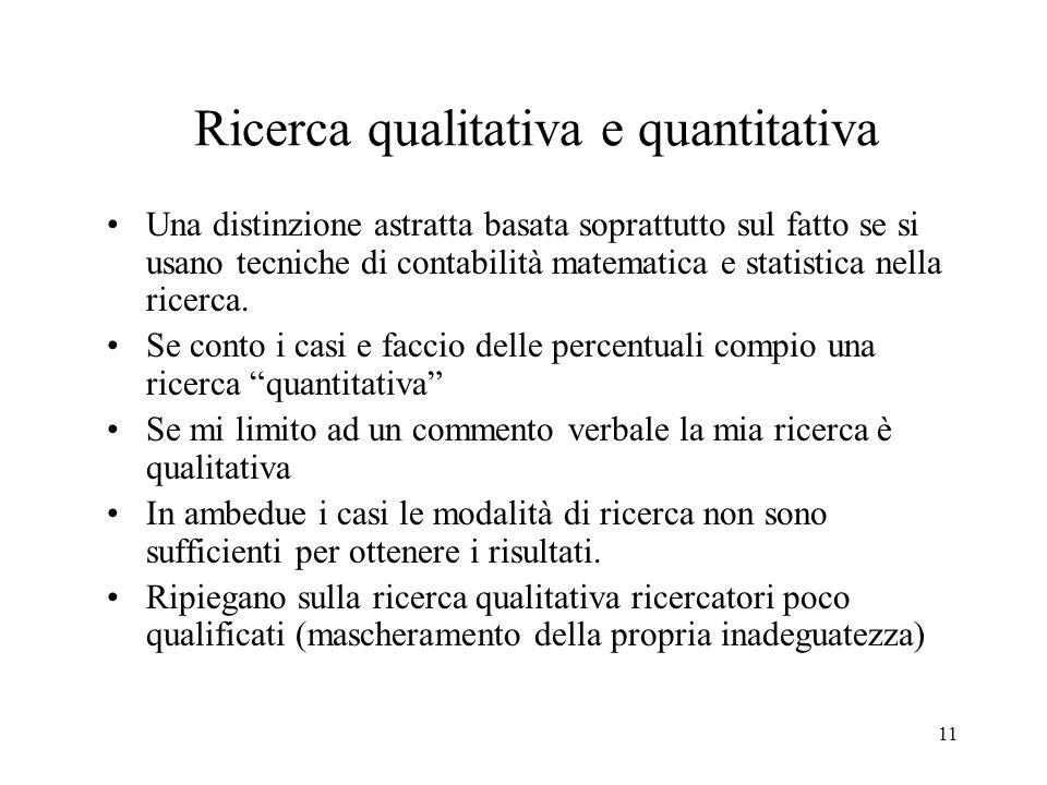 Ricerca qualitativa e quantitativa