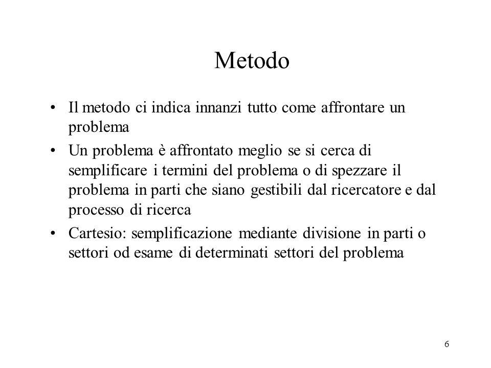 Metodo Il metodo ci indica innanzi tutto come affrontare un problema