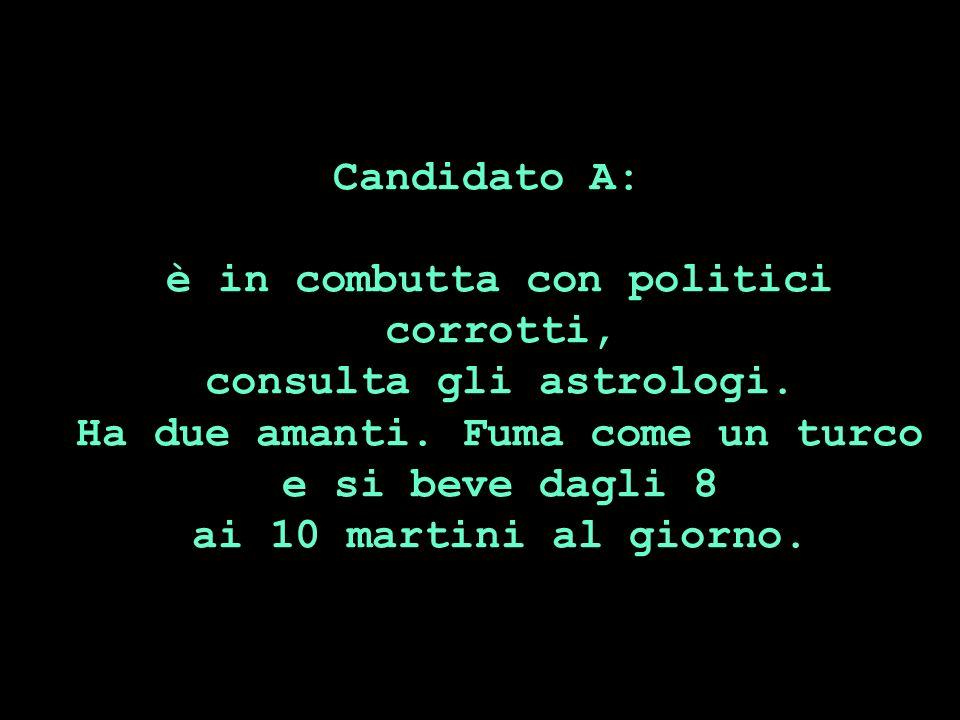 Candidato A: è in combutta con politici corrotti, consulta gli astrologi.
