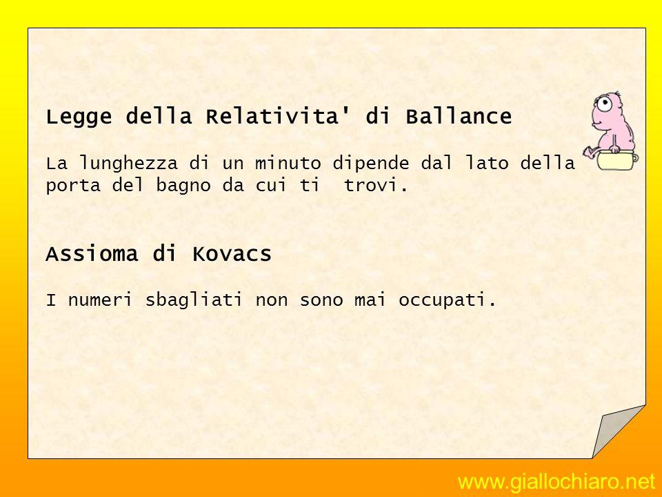 Legge della Relativita di Ballance