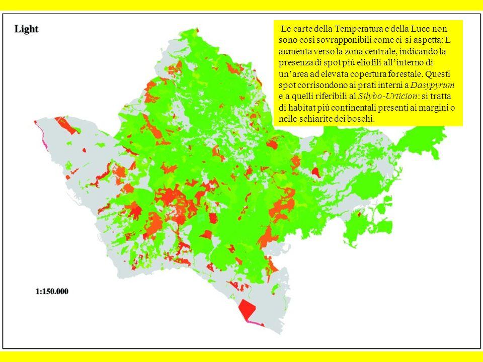 Le carte della Temperatura e della Luce non sono così sovrapponibili come ci si aspetta: L aumenta verso la zona centrale, indicando la presenza di spot più eliofili all'interno di un'area ad elevata copertura forestale.