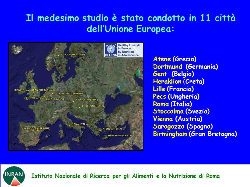 Il medesimo studio è stato condotto in 11 città dell'Unione Europea: