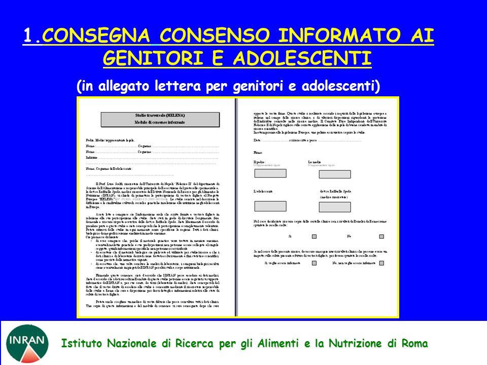 1.CONSEGNA CONSENSO INFORMATO AI GENITORI E ADOLESCENTI