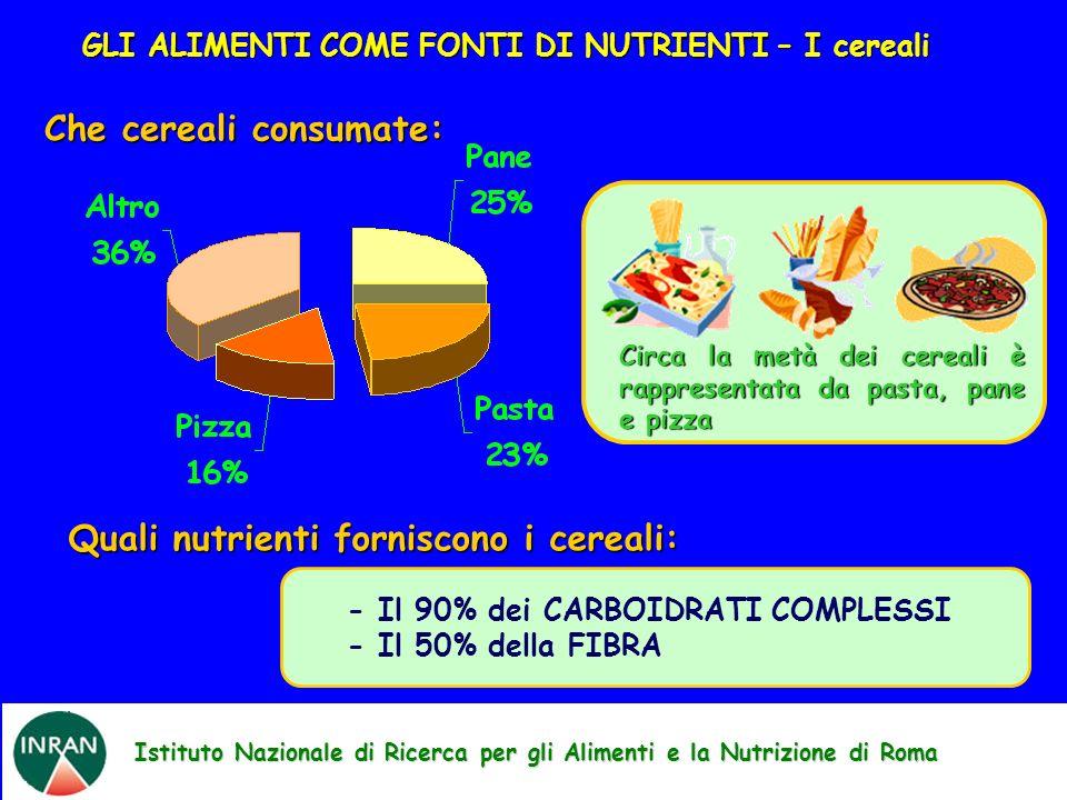 Quali nutrienti forniscono i cereali: