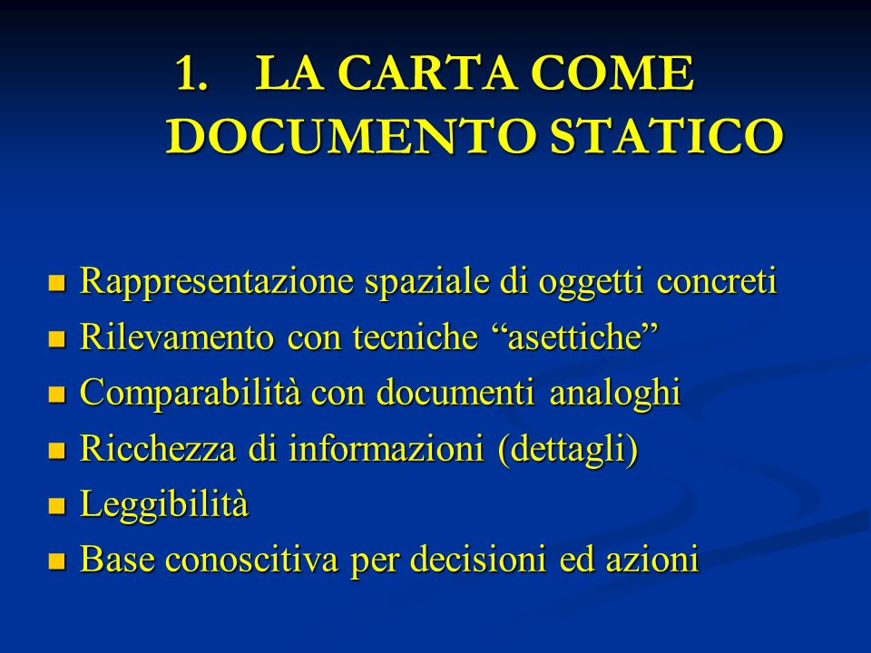 LA CARTA COME DOCUMENTO STATICO