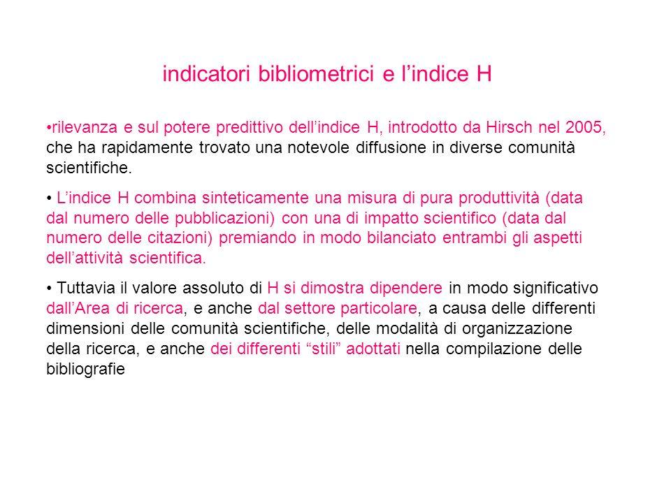indicatori bibliometrici e l'indice H