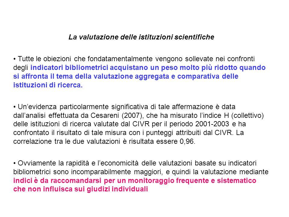La valutazione delle istituzioni scientifiche