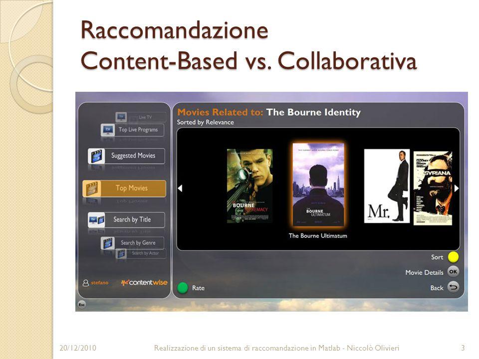 Raccomandazione Content-Based vs. Collaborativa