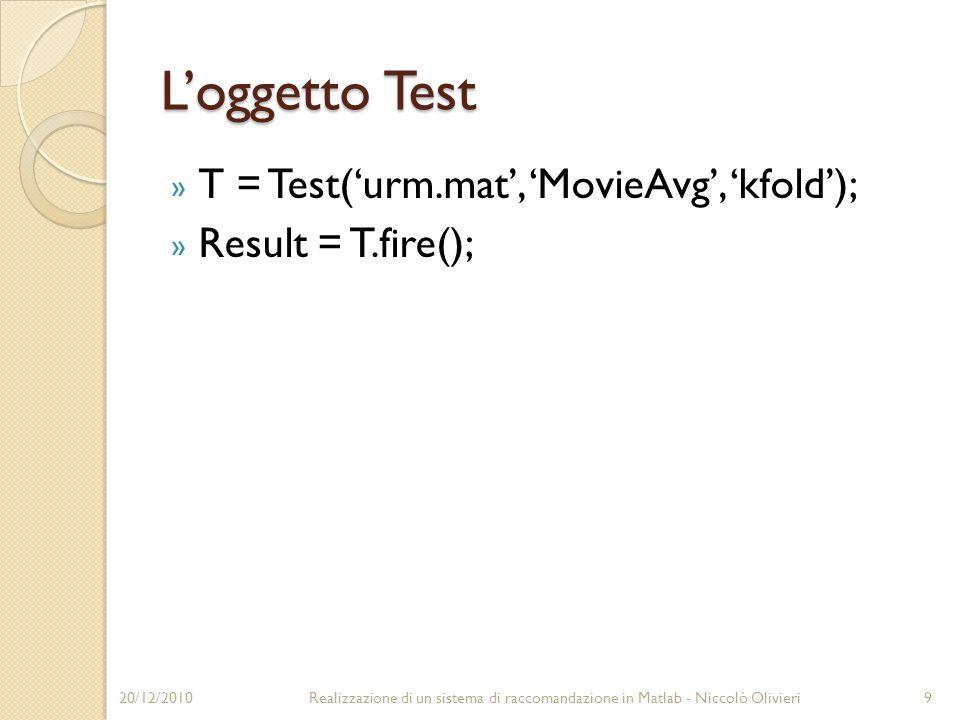 L'oggetto Test T = Test('urm.mat', 'MovieAvg', 'kfold');