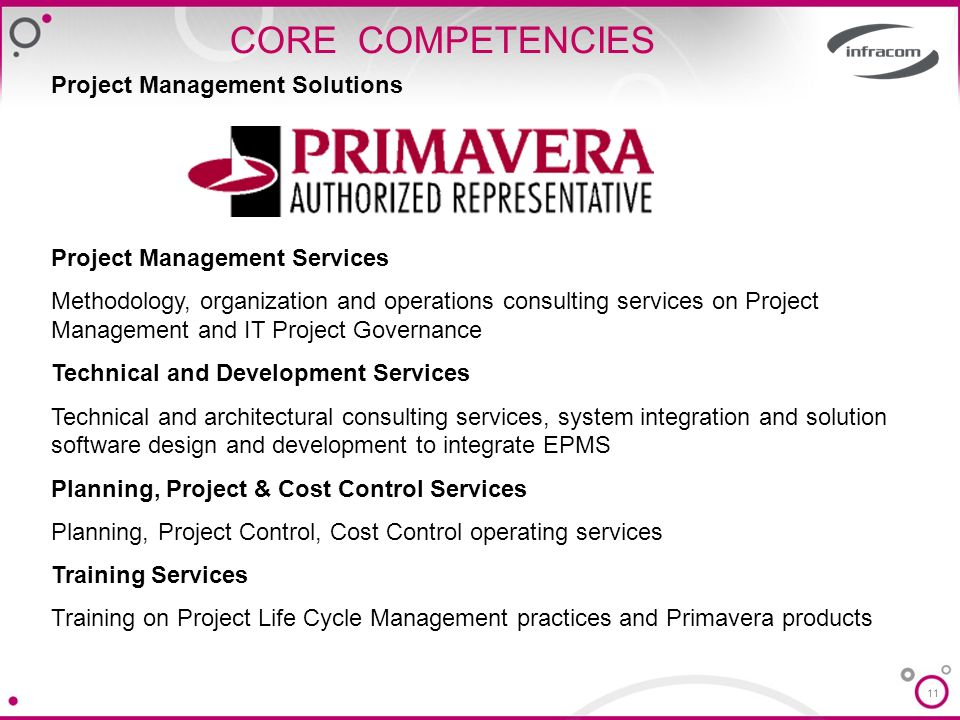 CORE COMPETENCIES Project Management Solutions