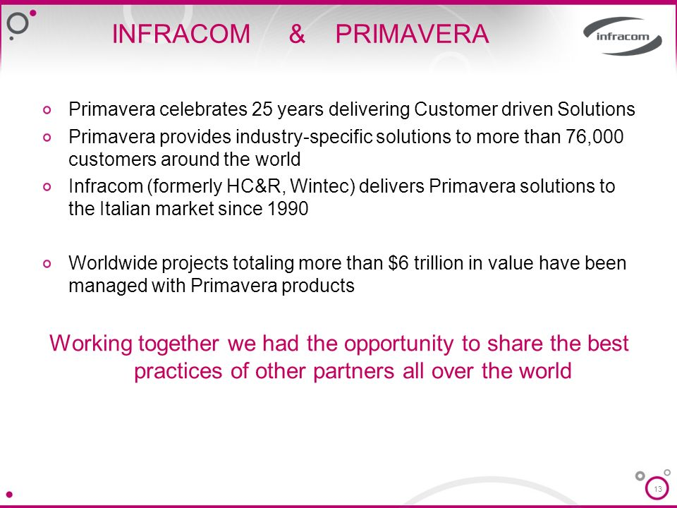 INFRACOM & PRIMAVERA Primavera celebrates 25 years delivering Customer driven Solutions.