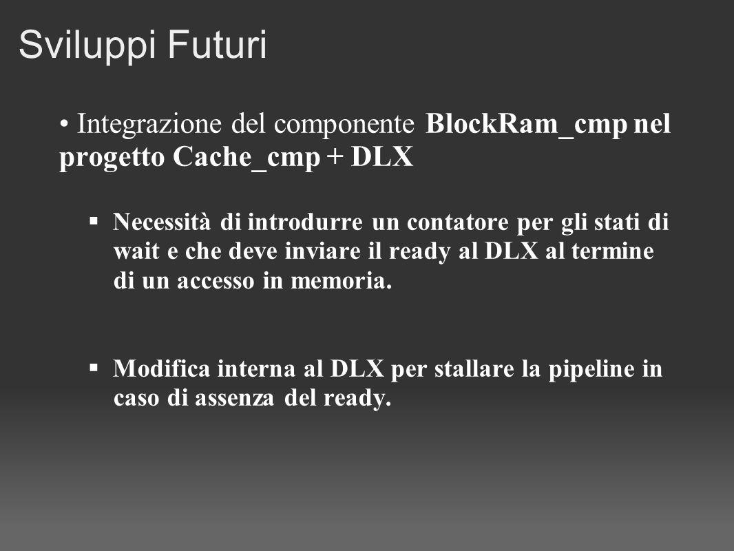 Sviluppi Futuri Integrazione del componente BlockRam_cmp nel progetto Cache_cmp + DLX. Necessità di introdurre un contatore per gli stati di.