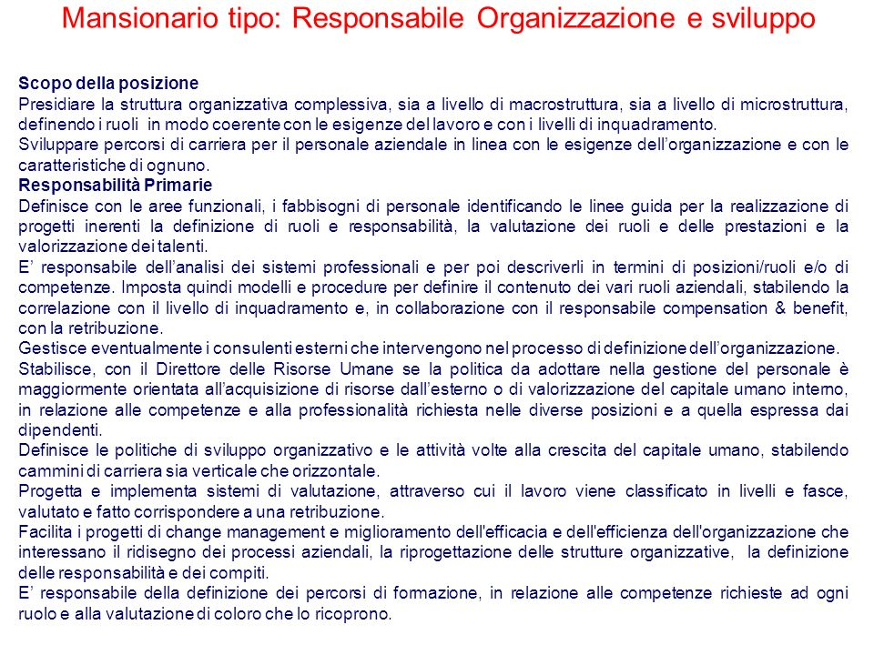 Mansionario tipo: Responsabile Organizzazione e sviluppo