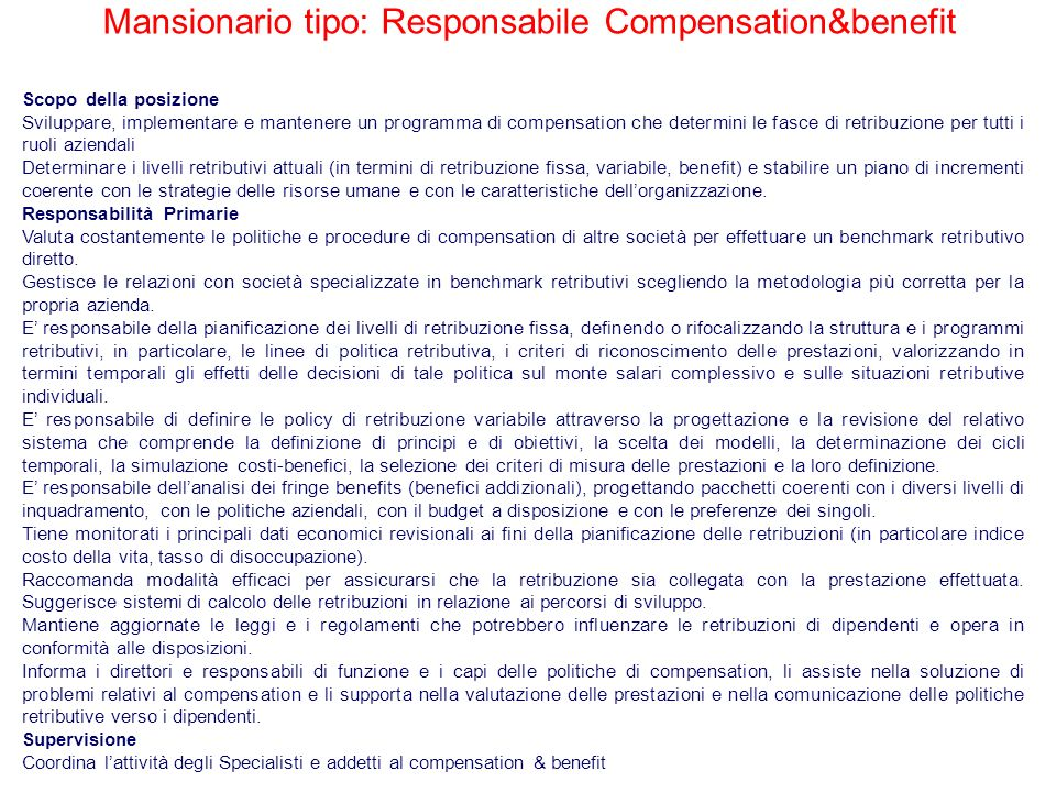 Mansionario tipo: Responsabile Compensation&benefit