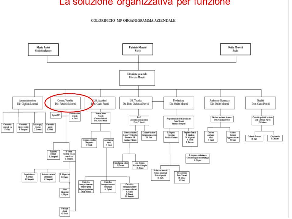 La soluzione organizzativa per funzione