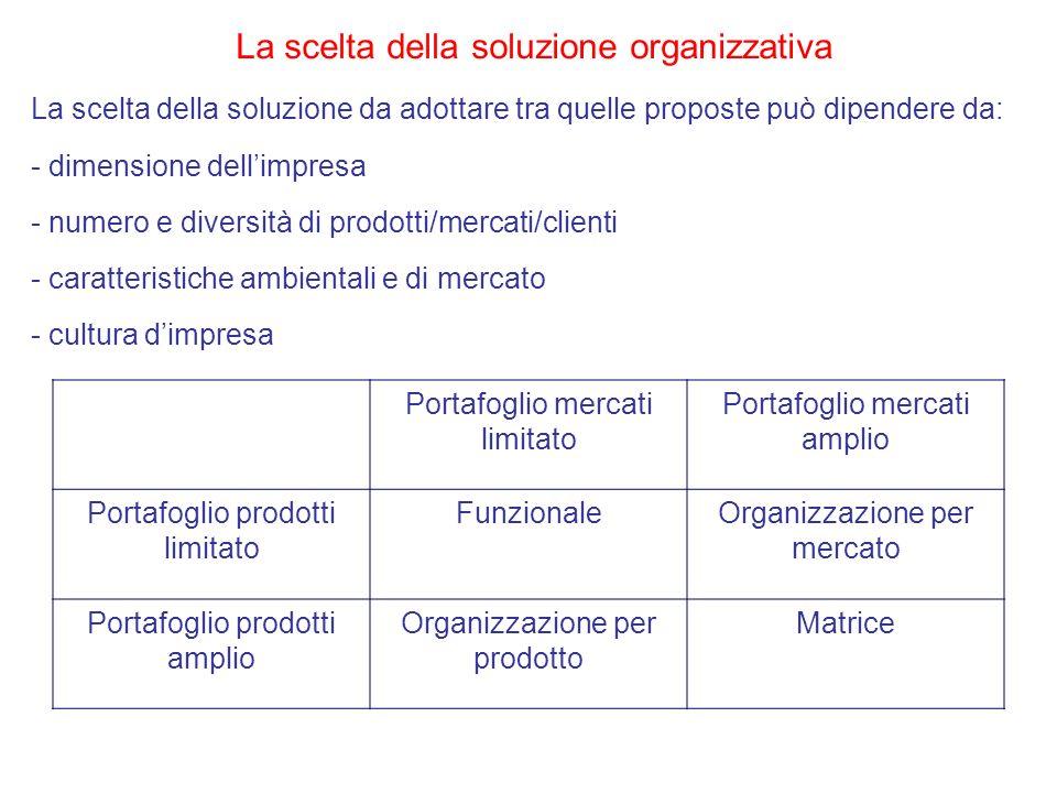 La scelta della soluzione organizzativa