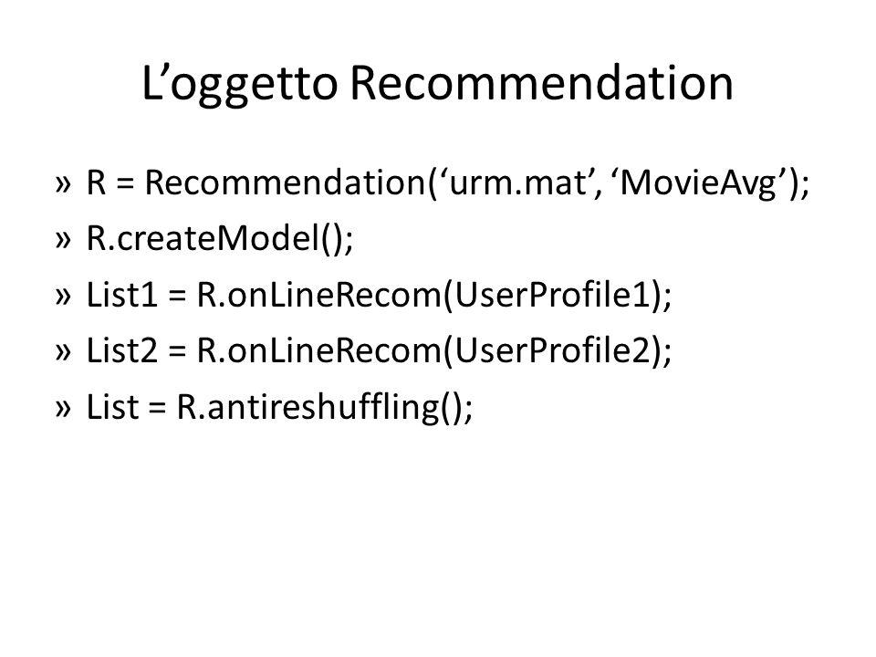 L'oggetto Recommendation