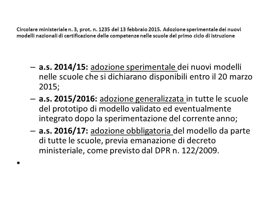 Circolare ministeriale n. 3, prot. n. 1235 del 13 febbraio 2015